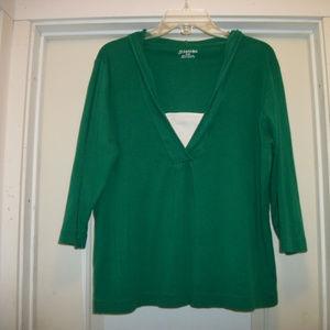 SWEET BRIGHT GREEN ST JOHNS BAY X LG COTTON HOODIE